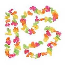 Party Time Bright Neon Plastic Flower Lei