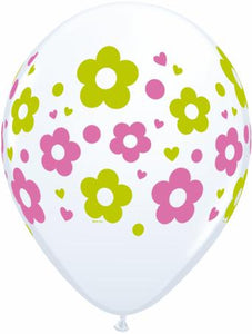 white balloon with daisies