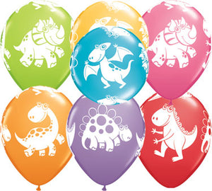 orange balloon with cute and cuddly dinosaurs