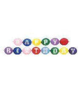 "11"" Latex Linking Balloon Happy Birthday Banner"