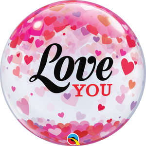 red and pink love plastic bubble balloon