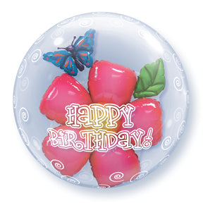 red flower and butterfly happy birthday plastic bubble balloon