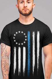 Betsy Ross Thin Blue Line Police T-Shirt