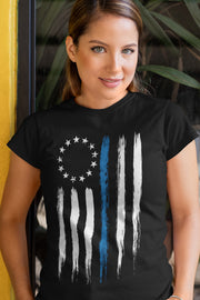 Betsy Ross Thin Blue Line Police T-Shirt - Womens