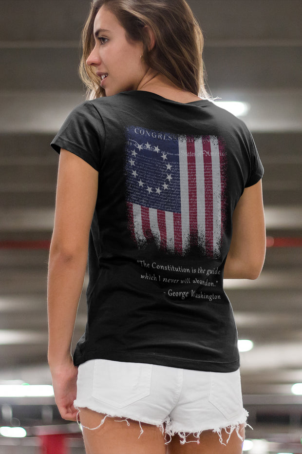 Betsy Ross Flag and Constitution T-Shirt - Womens