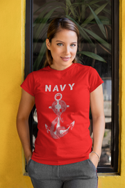 Navy Anchor and Snake T-Shirt Women's