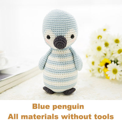 Blue penguin woven cotton crochet diy hand-knitted cotton yarn doll material