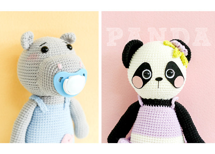 panda woven cotton crochet diy hand-knitted cotton yarn doll material
