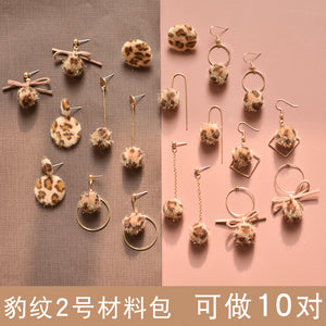 Earrings material bag accessories of own DIY production -Leopard 2