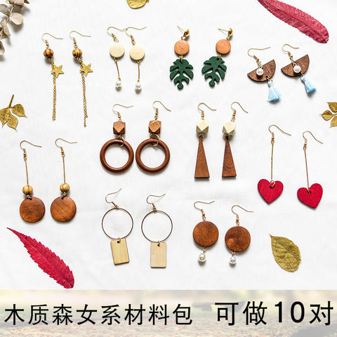Earrings material bag accessories of own DIY production -Wood 2