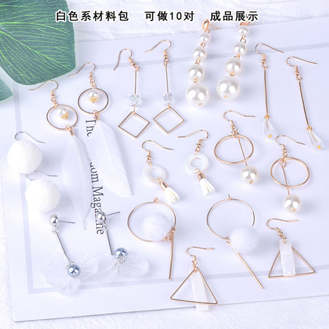 Earrings material bag accessories of DIY production -White
