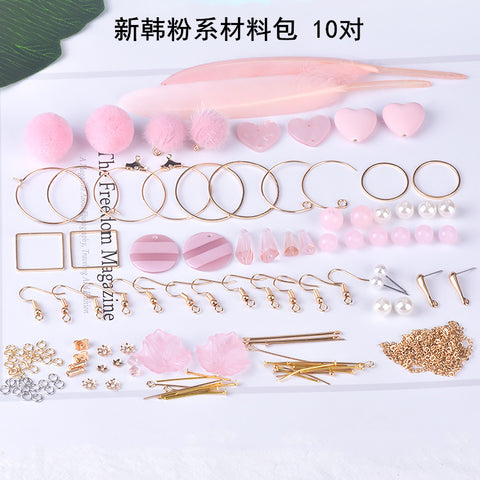 Earrings material bag accessories of their own DIY production -New powder