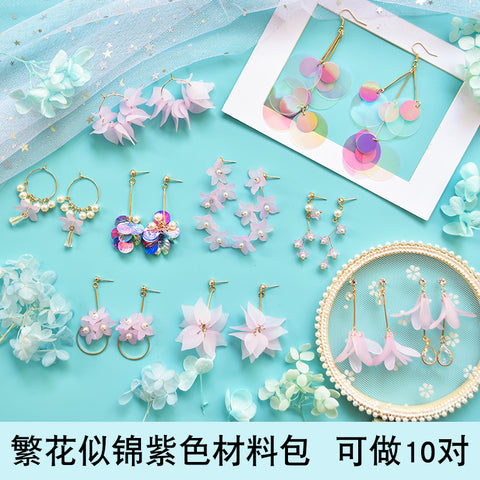 Earrings material bag accessories of DIY production -Flowery