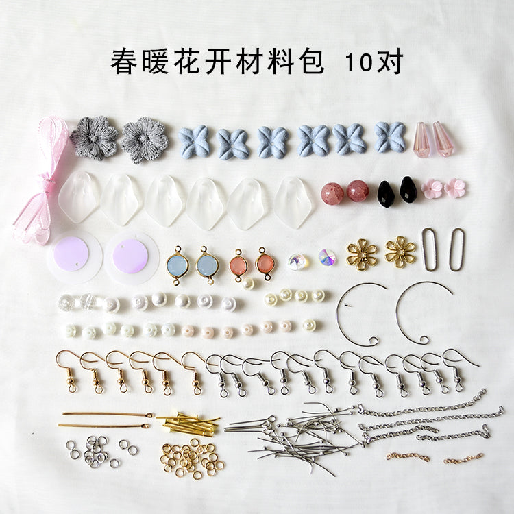Earrings material bag accessories of their own DIY production - Spring blossoms