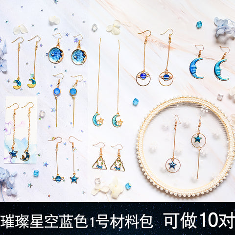 Earrings material bag accessories of own DIY production -Star blue 1