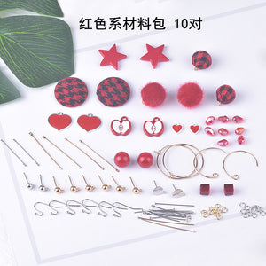 Earrings material bag accessories of their own DIY production - Red