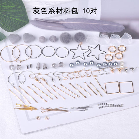Earrings material bag accessories of their own DIY production - gray