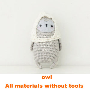 Owl doll hand-knitted woolen