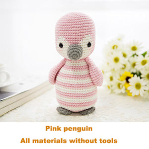 Pink penguin penguin woven cotton crochet diy hand-knitted cotton yarn doll material