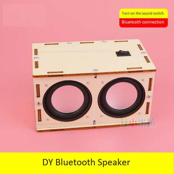 Boy handmade technology innovation works audio DIY Bluetooth speaker