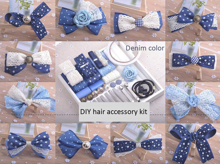 Denim color handmade hair