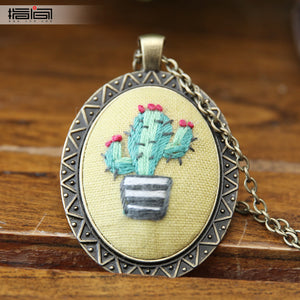 Green plant Finger embroidery diy handmade necklace female adult beginner material package