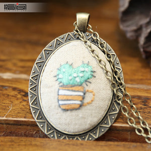 Potted plant Finger embroidery diy handmade necklace female adult beginner material package