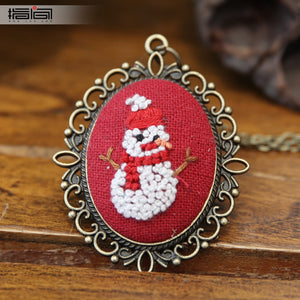snowman Finger embroidery diy handmade necklace female adult beginner material package