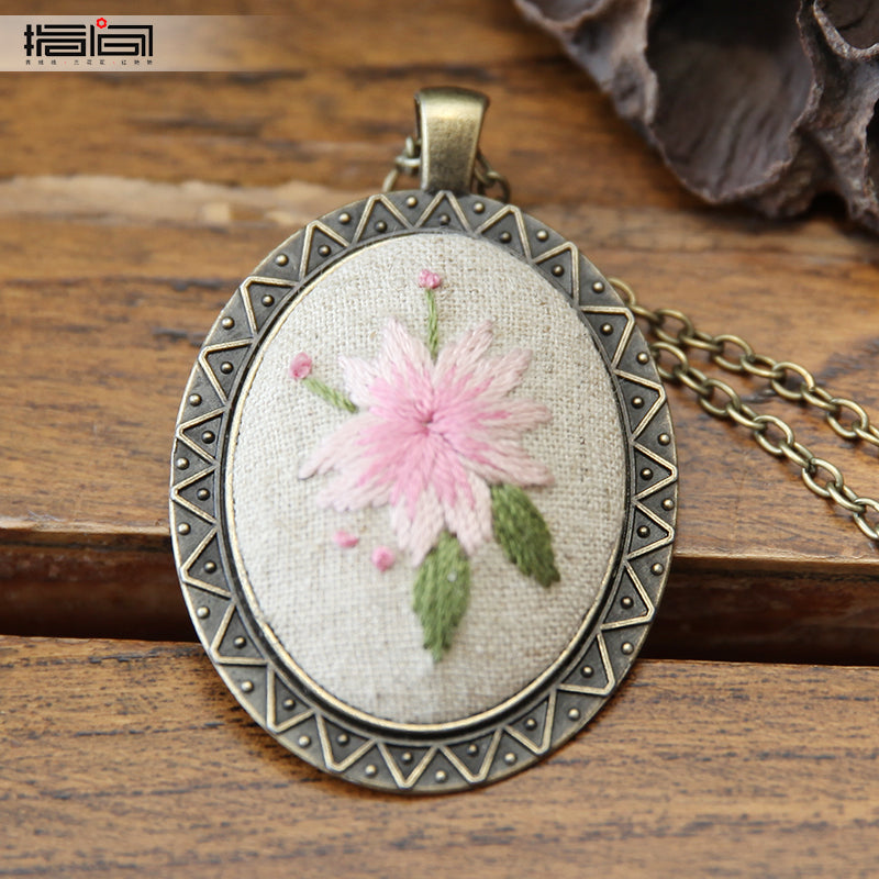 Falling cherry Finger embroidery diy handmade necklace female adult beginner material package