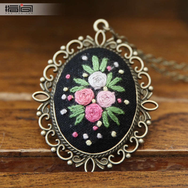 Love black Finger embroidery diy handmade necklace female adult beginner material package