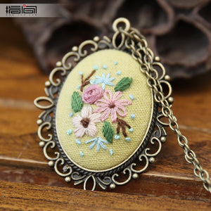 Flowering Finger embroidery diy handmade necklace female adult beginner material package