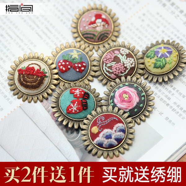 Interdigital embroidery diy handmade brooch sweater chain embroidery cross stitch
