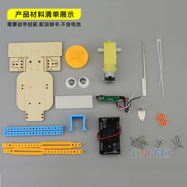 Homemade voice-activated robot boy handmade materials innovative works