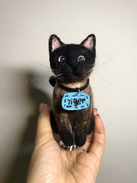 To map custom wool felt Siamese cat doll ornaments keychain bag hanging