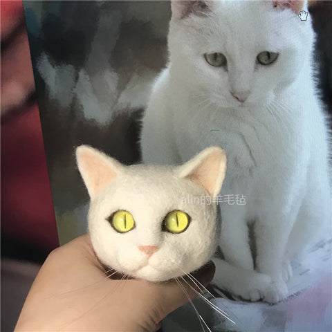 Pet custom wool felt cat head finished simulation cat keychain manual DIY material package