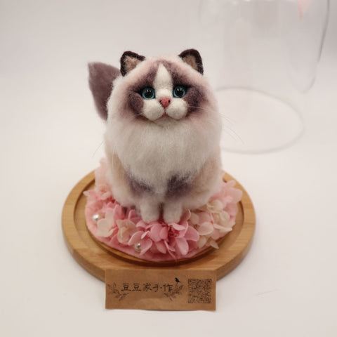 Customized wool felt by hand Picture Customized Pet Puppet Cat Decoration Keychain