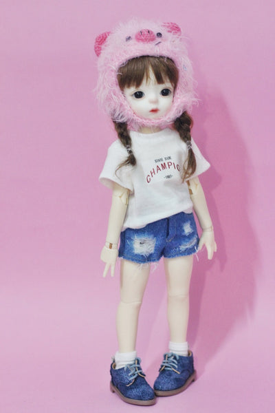 Bjd six points 1 / 6 night loli doll clothes daily short-sleeved denim hole shorts suit
