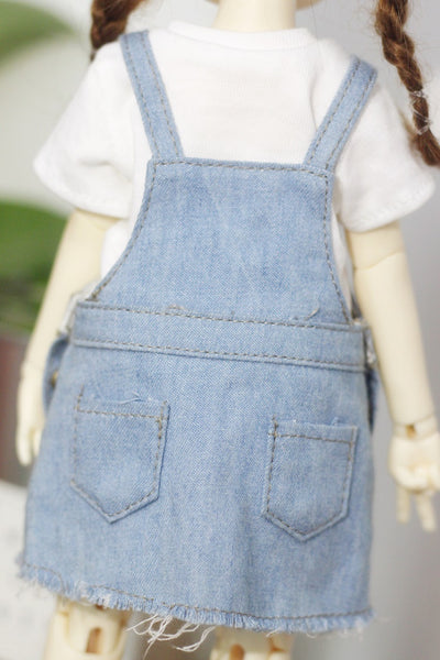 Bjd six points 1 / 6 loli 30cm doll clothes short sleeve daily denim strap skirt suit