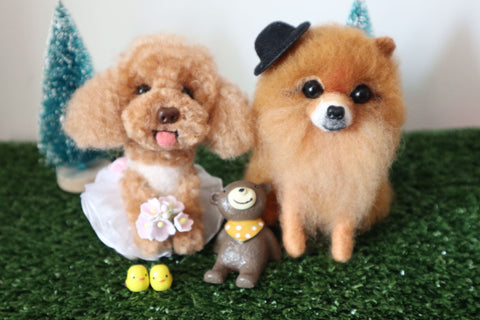According to the photo cat dog custom wool felt hand made avatar decoration commemoration