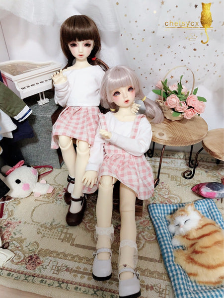 Bjd 1/4, 1/6, 1/3, msd doll clothes dress, plaid strap dress