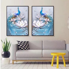 Load image into Gallery viewer, Pure handmade cross stitch finished peacock triple painting phoenix lotus