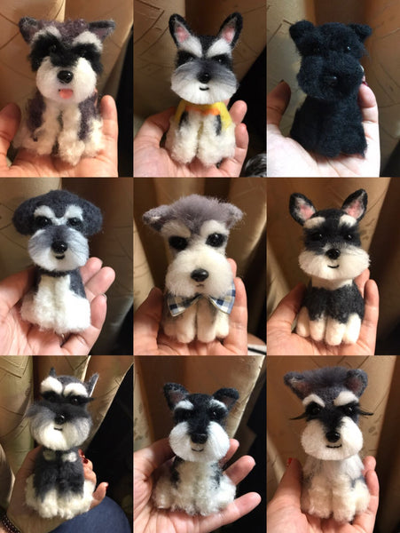 Customized wool felt body simulation dog keychain creative gift according to photos