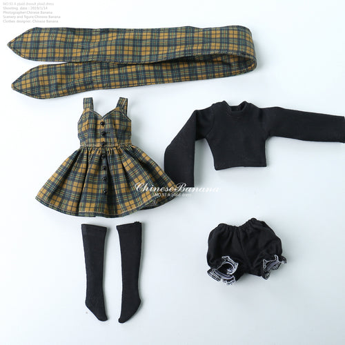 Neo blythe baby clothes Plaid skirt set