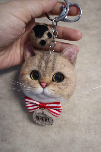 Handmade photo custom wool felt cat avatar keychain