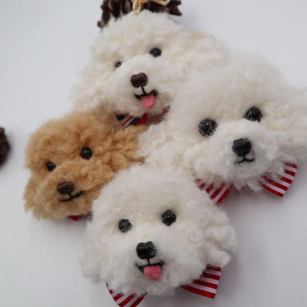 Handmade wool felt imported curl hairy Teddy VIP avatar keychain photo custom gift pet