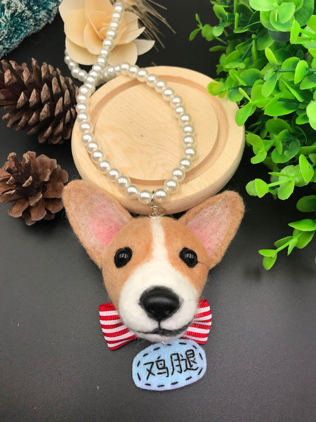 Wool felt finished photo custom handmade Keji avatar car hanging Corgi dog photo custom