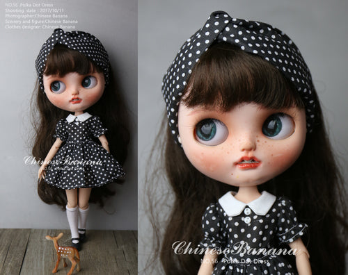 Neo blythe baby clothes black and white polka dot dress