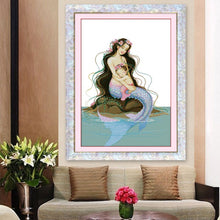 Load image into Gallery viewer, Handmade cross stitch finished mother and son mermaid