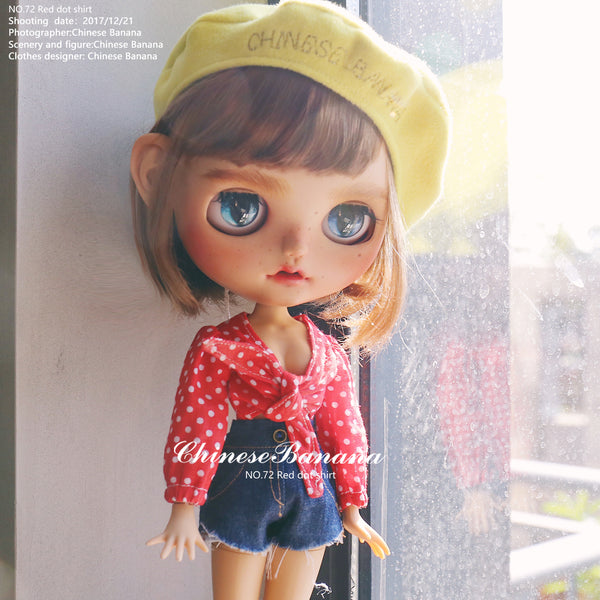 Neo blythe baby clothes, red polka dot shirt