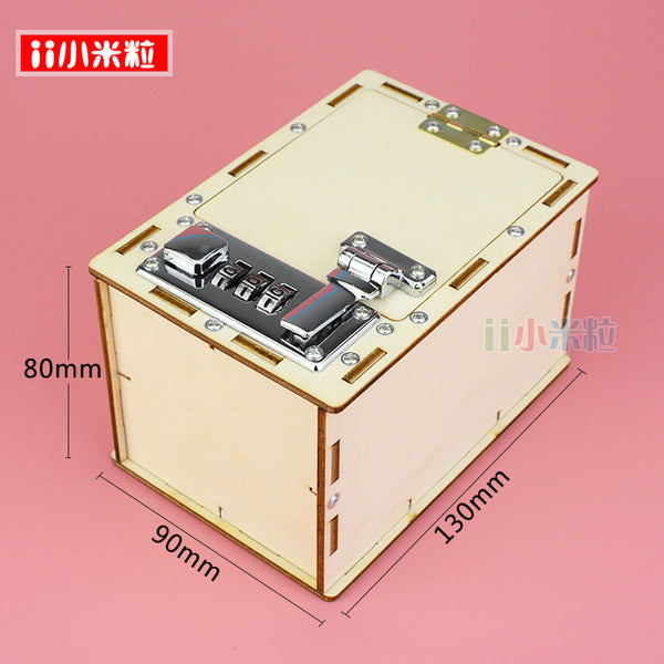 Boy, hand made mechanical lock box, scientific and innovative works, science toys